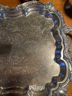 Huge 8 Pc Silver Set, Coffee And Tea, Including Towle Pots And Leonard Tray