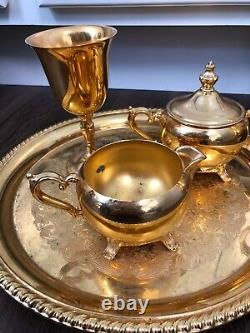 INTERNATIONAL SILVER CO 24k GOLD PLATED 5 Piece Set COFFEE /TEA SET 60s