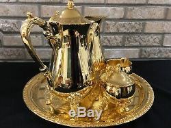 INTERNATIONAL SILVER CO 24k GOLD PLATED 6 Piece Set COFFEE /TEA SET 60s