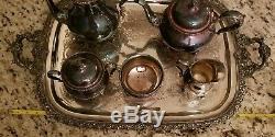 International Silver/Wilcox S. P. Vintage 6 Pc Du Barry Coffee Tea Service