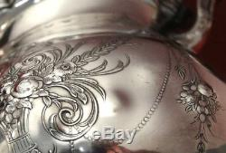 International Wilcox LADY MARY Fruit Basket Swag Chased Coffee Pot Tea Set+Tray