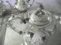 John Turton Silverplate Tea/coffee Tea Set Ornate Repousse Eagle Finial England