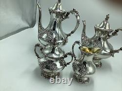 King Francis Four Piece Coffee Tea Set, Silverplate