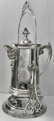 LOVELY! Atq Slv Plate MERIDEN #289 TILTING TEA/COFFEE POT withBURNER LAMP & STAND