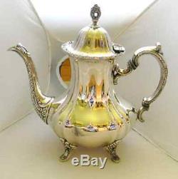 Lancaster Rose Poole Silver Co Holloware Silverplate Coffee Tea Serving Set