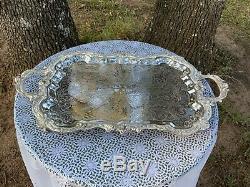 Large Birmingham Art Nouveau Fan Silver Tea Coffee Serving Platter Superb Cond