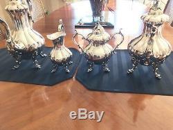 Lovely Reed & Barton Winthrop Silverplate 4piece Coffee & Tea Set Pumpkin Top