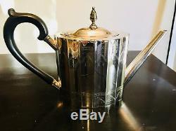 Lunt Revere-Style Silver Plated Tea and Coffee Service Tray Hollywood Regency