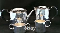 MID CENTURY DESIGNER SILVER PLATED TEA SERVICE for WALKER & HALL by DAVID MELLOR