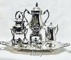 Magnificent Antique Large Tea Set of Five WM Rogers on EPCA Tray Silver Plated
