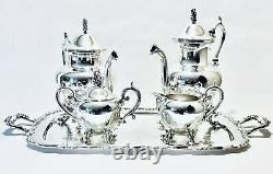 Magnificent Antique Set of Four Birmingham Tea Set On WM A. Rogers Silver Plated