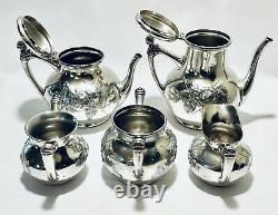 Majestic Antique Set of 5 English Tea Set Acme Silver Plated Quadruple
