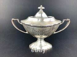 Meriden Silverplate Art Deco Tea Set Teapot Creamer Sugar Bowl Tray Stunning