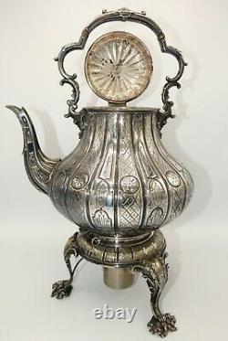 Mid 1800s Thomas Bradbury & Sons Spirit Tea Kettle with stand Sheffield