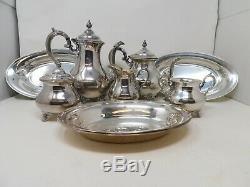Mixed Lot Gorham Coffee Pitcher Tea Set Cream Sugar Bowl 3 Trays Silver Plate