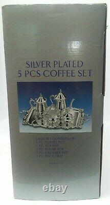 NIB Godinger Silver Art 5 piece coffee tea set silver plated style #61375 gift