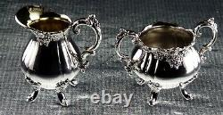 Never Used Wallace Baroque Hanging Tea Pot & Warmer 2 Trays Creamer Sugar