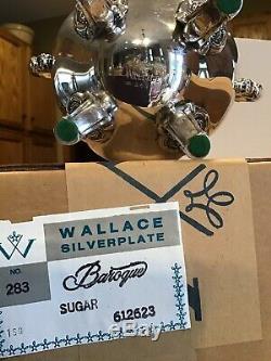 New MIB Vintage Wallace Baroque Silverplate Coffee Tea Cream Sugar Set