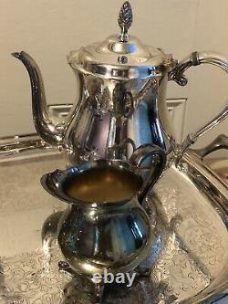 Newport Gorham Silverplate 5 Piece Coffee Tea Set with Tray