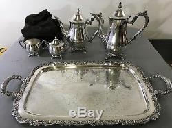 ONEIDA 5 PIECE SILVERPLATED SERVING SET! Coffee Pot, Tea Pot, Sugar, Creamer A15