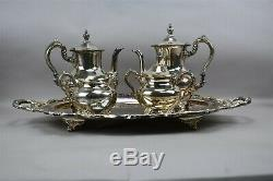 Old English By Poole 5-Pc Silverplate Coffee Tea Set With Service Tray