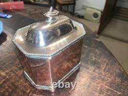 Old Sheffield Silver Plate On Copper 18c Georgian Lockable Tea Caddy & Key