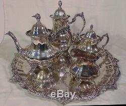POOLE Lancaster Rose Silverplate Silver Plate Tea Set Teaset Tray Teapot