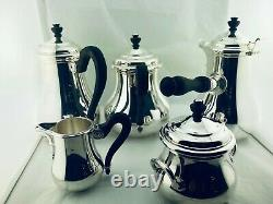 PUIFORCAT France SILVER PLATED TEA COFFE CHOCOLATE POT SET NEVER USED 5 Pcs