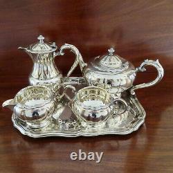 Primrose Plate 4 Piece Silver Plated Coffee/tea Service. Melon Shape. Nice