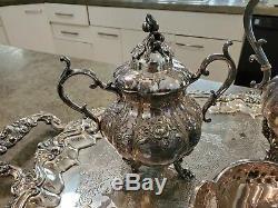 RARE Vintage Reed & Barton WINTHROP Silverplate Tray & Tea Service Pumpkin 1795