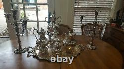REED & BARTON SILVERPLATE complete TEA/COFFEE SERVICE, RARE Numbered 17950