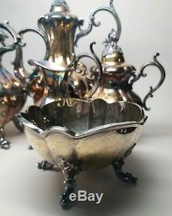 REED & BARTON Silver Plated WINTHROP Pumpkin Coffee Tea Service 5 Pc Set Vintage