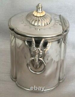 Rare Antique Ram's Head Ring Handles Tea Caddy Sheffield Silver Plate Hinged Lid