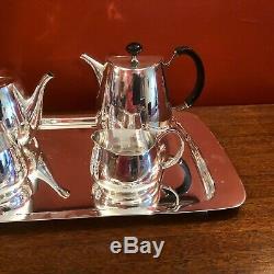 Rare David Mellor Pride pattern tea set on matching tray for Walker & Hall c1955