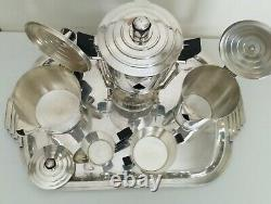 Rare French Art Deco Coffee/Tea Service with Samovar by ERCUIS Sirius Pattern