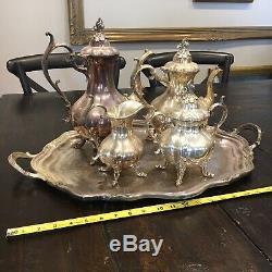 Reed & Barton 1795 Silver plate WINTHROP Figural Pumpkin Tea Coffee 5pc Set Tray