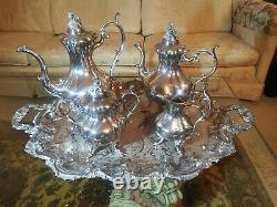 Reed & Barton #1795 Winthrop Silver-Plated 5-Piece Matching Tea Set, With Tray