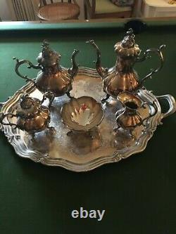 Reed & Barton 1795 Winthrop Silver Plated Coffee & Tea Set