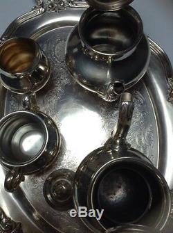 Reed Barton 5600 Regent Silver Plate 5 Piece Tea Coffee Sugar Creamer Tray Set