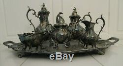 Reed & Barton 6pc Tea Set, silverplate, Winthrop coffeepot, teapot, sugarbowl