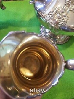 Reed & Barton King Francis Coffee Tea Pot Creamer Sugar Silver Plate Serving Set