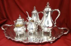 Reed & Barton Silver Plated PROVINCIAL Modern Tea Pot Set + Footed Tray 6pc