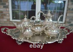Reed & Barton Tea/Coffee Service with Large Butler Tray. Victorian pattern
