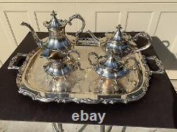 Reed & Barton Victorian Silverplate 4 PC Tea Coffee Set 6710 & Leonard Tray NM