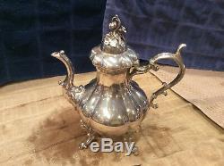 Reed & Barton Winthrop Shield Pumpkin Silver Plate footed Coffee Tea Set #1795