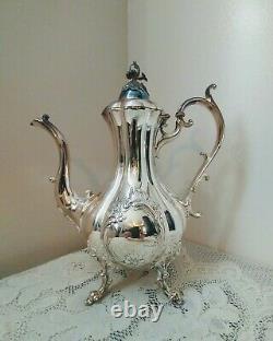 Reed & Barton Winthrop Shield Silverplate Footed Coffee/Tea Pot Pumpkin #1795E