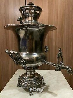 Russian Samovar silverplate Tea Urn/Hot water, FRAGET WARSZAWIE