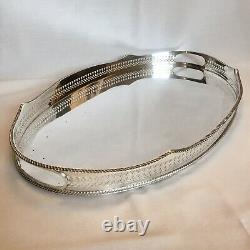 SILVER PLATED Vintage Large Oval Pierced Gallery Tea Serving Tray Mirror Surface