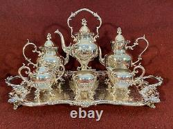 SILVER TEA & COFFEE SET 7 PIECE, BIRMINGHAM SILVER CO, Circa 1950 EXCELLENT