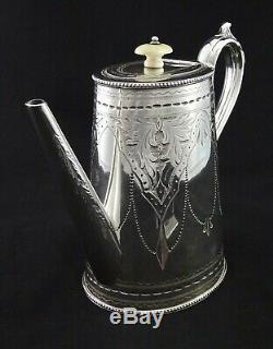 STUNNING 4 PIECE WB & Co OVAL STYLE CHASED TEA SET SUGAR CREAMER SILVER PLATED